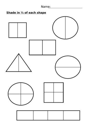 KS1 Shade a half and a quarter fraction