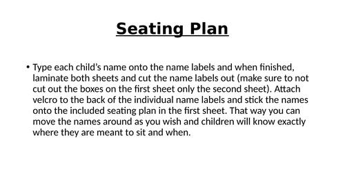 Classroom adjustable seating plan