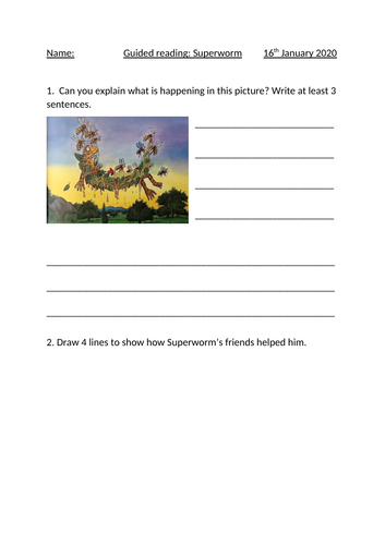 KS1 Guided reading worksheets for Superworm