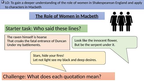The Role of Women - Shakespeare; Lady Macbeth