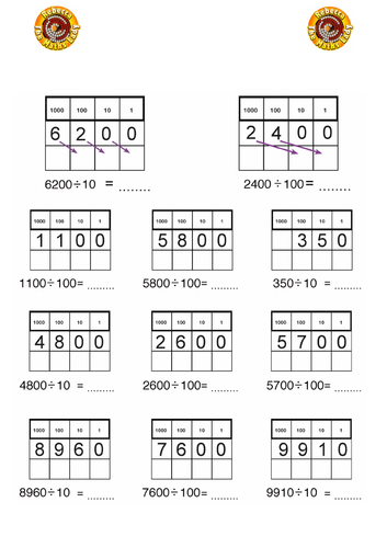 Division by 10 and 100 (whole numbers)
