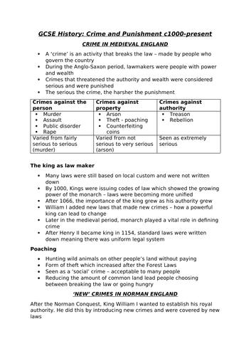 GCSE Edexcel Crime and Punishment Notes
