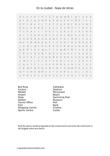Word search places in Town Spanish