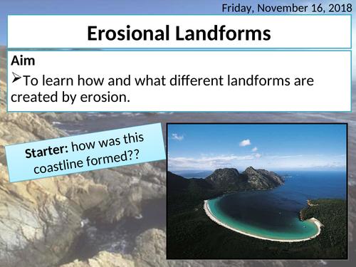 Coastal landforms of erosion - headlands, bays, cave, arch, stack, stump, wave-cut notch & platforms