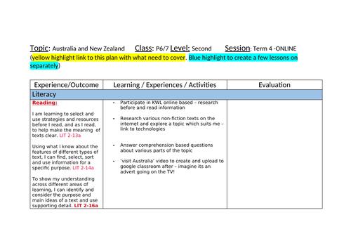 Australia and New Zealand IDL Topic Planner