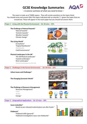 AQA GCSE Geography Knowledge Organiser / Revision Summary - exam year 2020/2021