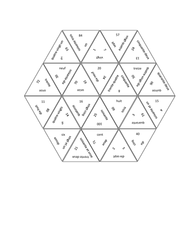 Numéros (Numbers in French) Tarsia Puzzle