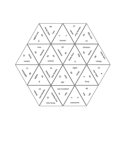 Numbers in English Tarsia Puzzle