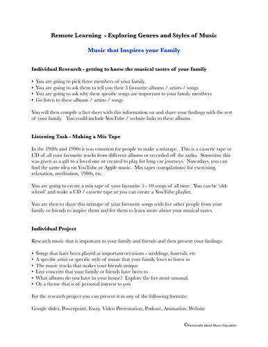 Remote learning listening and project work for Music that Inspires your Family