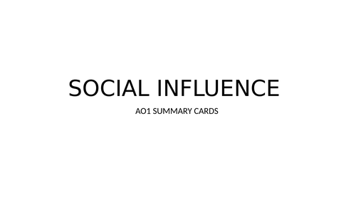 AQA A Level Psychology - social influence notes