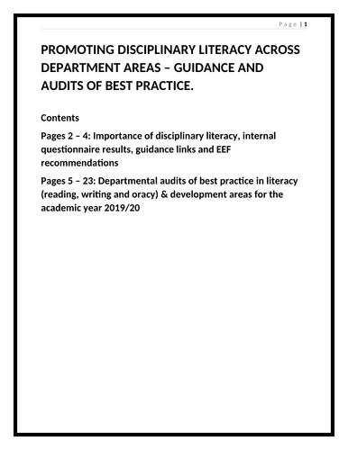 Promoting disciplinary literacy across departments
