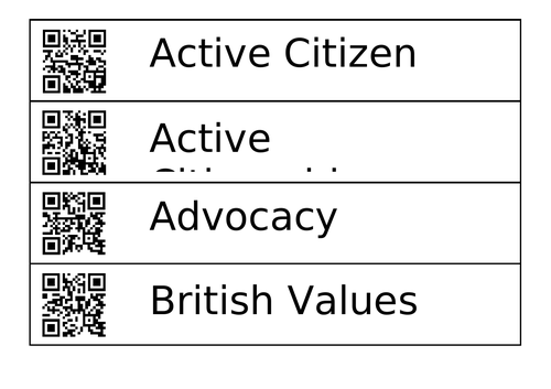 AQA Citizenship Key Words with QR code display