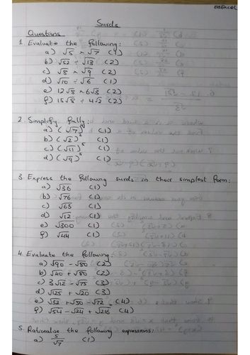 Surds 9-1 GCSE Worksheet & Answers