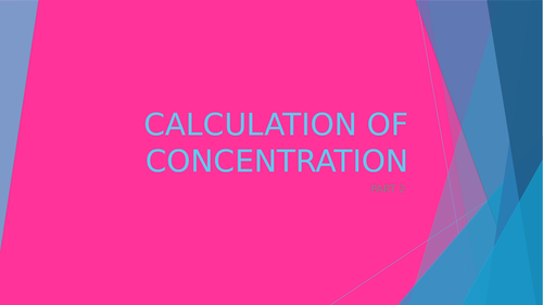 Working with concentration