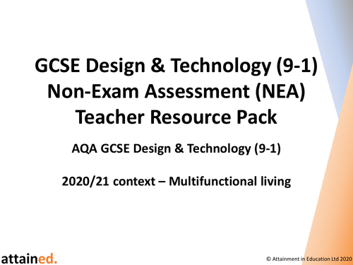GCSE D&T (9-1) NEA Teacher Resource Pack (Multifunctional Living)