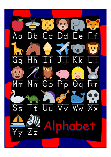 Alphabet poster classroom A4 one letter size and half size, one page hand out BK