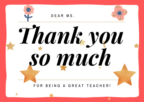 Certificate-Thank you for being a great teacher