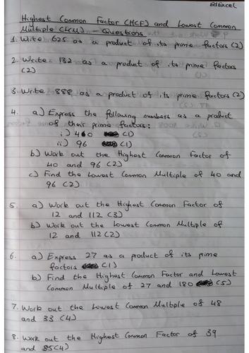 HCF & LCM 9-1 GCSE Worksheet & Answers