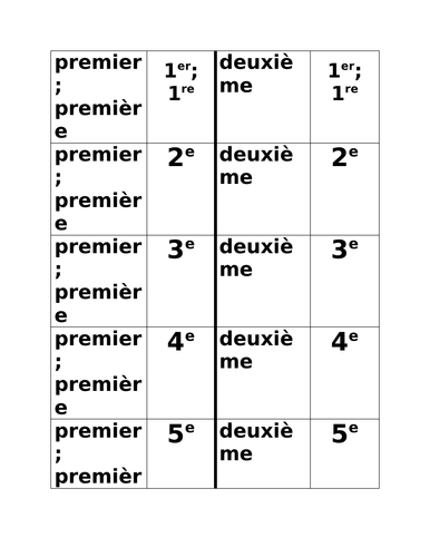 Numéros (Numbers in French) Ordinaux Dominoes