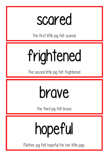 The Three Little Pigs vocab cards