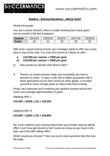 Algebra : Solving Equations... Which Deal? (Soccermatics)