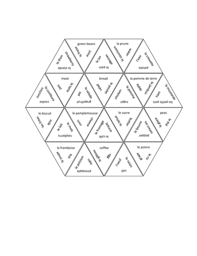 Nourriture (Food in French) Tarsia Puzzle