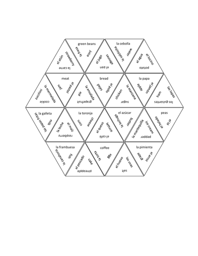 Comida (Food in Spanish) Tarsia Puzzle