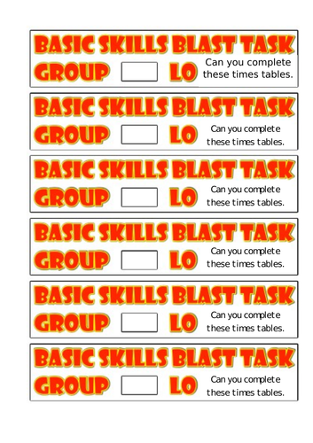 Blast Task Starter Labels