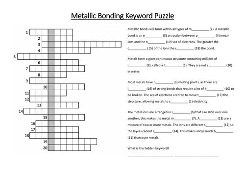 Metallic Bonding Keyword Puzzle