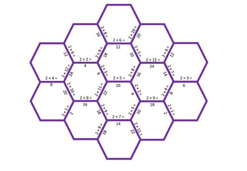 Times Table Tarsia Puzzles -(x2 x3 x4 x5 x10)