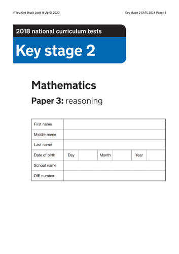 Key Stage 2 Maths 2018 Paper 3 Reasoning (from 24 to 8 sheets)