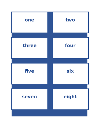 Numbers in English Math Activities