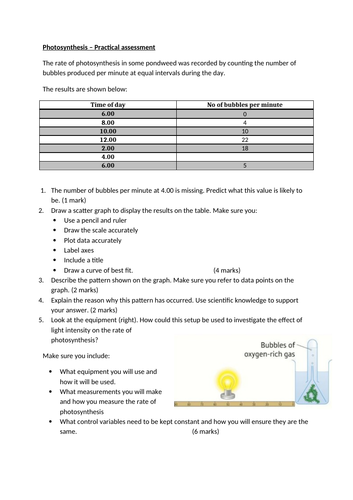 Photosynthesis practical questions