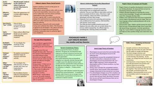 GCSE AQA Psychology- A3 revision mat- Paper 2