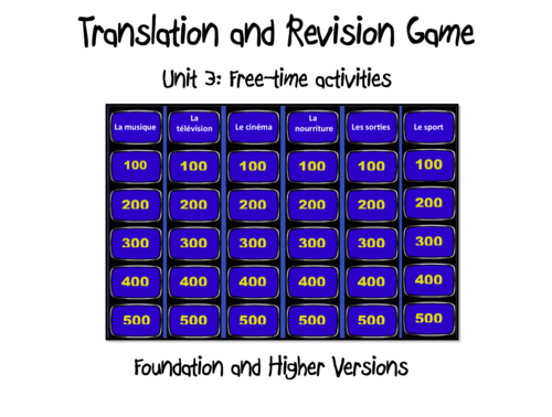 Translation and Revision Game- Unit 3- Free-time activities- GCSE French