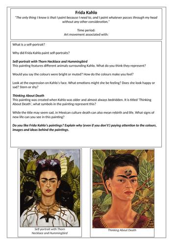 Frida Kahlo Artist Fact File Task