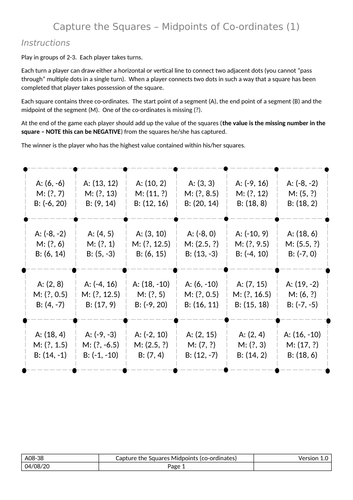 Capture the Squares - Midpoints