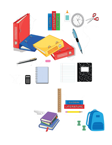 School Supplies Find the Differences Partner Speaking Activity