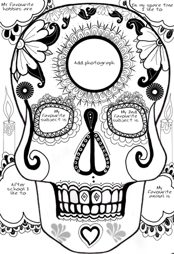 Art Day of the Dead back to school 'all about me' activity.