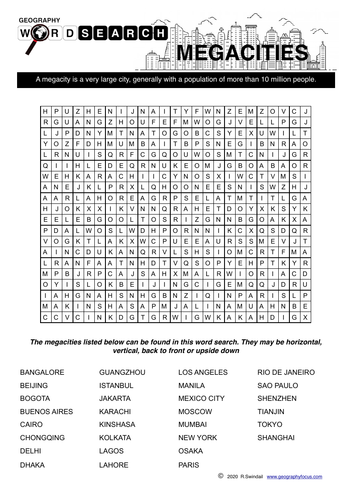 Megacities Wordsearch