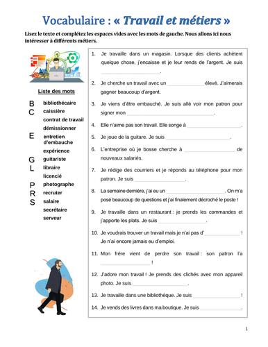 (French vocabulary) Vocabulaire : le travail et les métiers