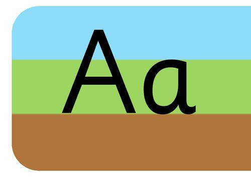 Sky grass ground non cursive alphabet display strip for wall
