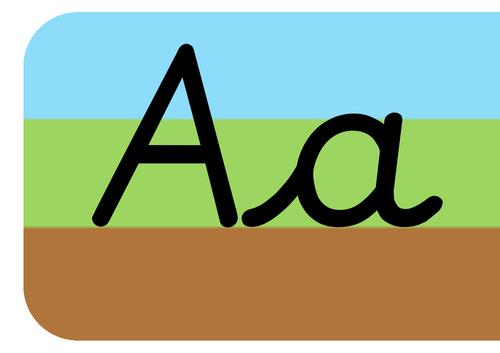 Sky grass ground cursive alphabet display strip for wall