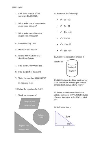 GCSE Maths Revision Sheet