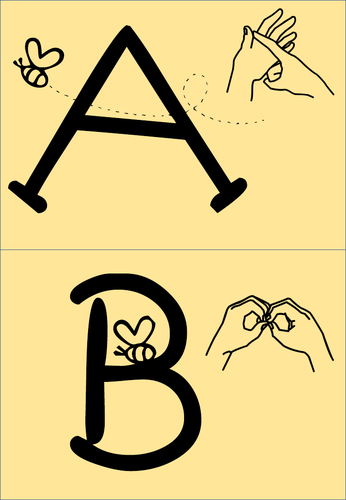 Alphabet cards with sign language