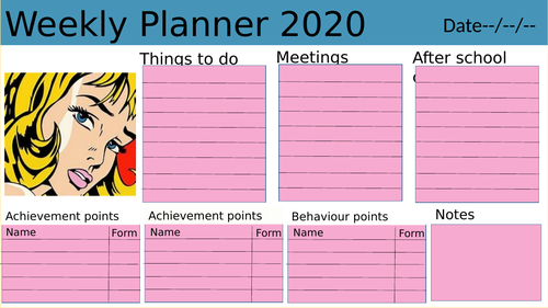 Weekly planner resource