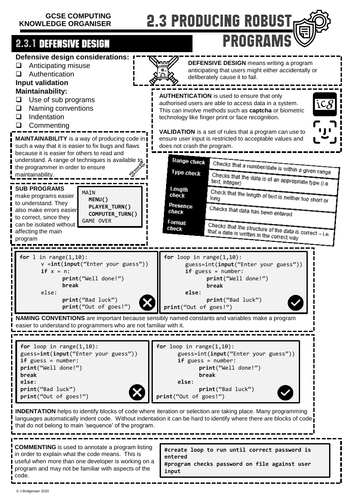 GCSE Computing Knowledge Organiser 2.3