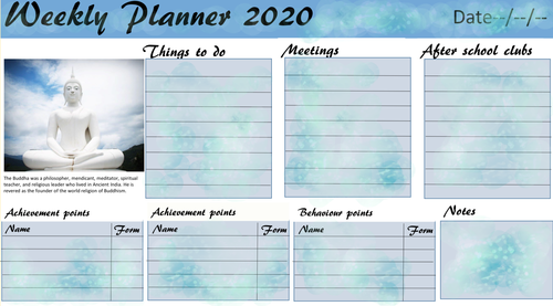 Weekly planner Buddha