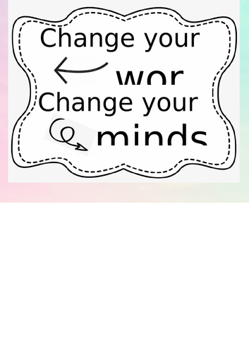'Change Your Words, Change Your Mindset' Watercolour Theme