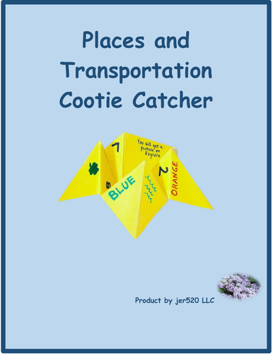 Lugares e Transporte (Places and Transportation in Portuguese) Cootie Catcher
